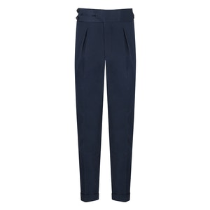 Navy Cotton Single-Pleat Trousers