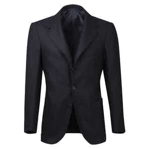Blue Cashmere Single-Breasted Unlined Jacket