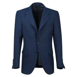 Blue Hopsack Wool Single-Breasted Unlined Jacket
