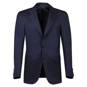 Blue Wool Single-Breasted Unlined Jacket