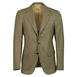 Yellow Checked Wool Single-Breasted Unlined Jacket