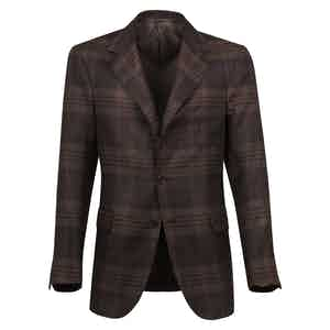Brown Checked Wool Single-Breasted Unlined Jacket
