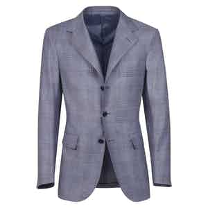 Azure Checked Wool Single-Breasted Unlined Jacket