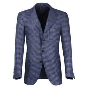 Light Blue Checked Wool Single-Breasted Unlined Jacket
