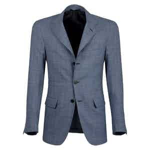 Dark Azure Checked Wool Single-Breasted Unlined Jacket
