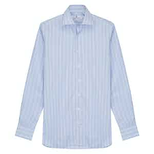 Pink and Blue Stripe Tailored Fit Shirt with Kent Collar