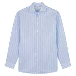 Tonal Blue Stripe Tailored Fit Shirt with Kent Collar
