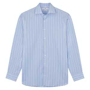 Tonal Blue Glen Check Tailored Fit Shirt with Kent Collar