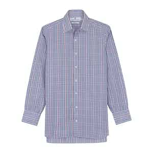 Pink and Blue Fancy Check Regular Fit Shirt with T&A Collar