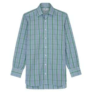 Green and Blue Fancy Check Regular Fit Shirt with T&A Collar