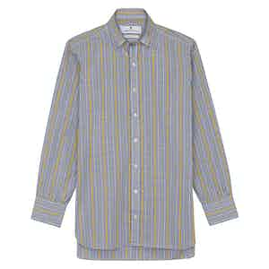 Yellow and Blue Fancy Check Regular Fit Shirt with T&A Collar