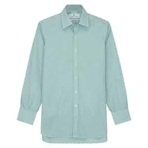 Green Fine Stripe Regular Fit Shirt with T&A Collar