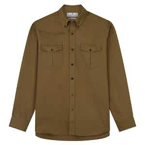 Khaki Cotton Weekend Fit Shirt with Dorset Collar