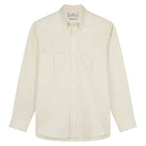 Cream Cotton Weekend Fit Shirt with Dorset Collar