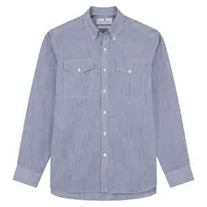 Indigo Chambray Stripe Weekend Fit Shirt With Dorset Collar