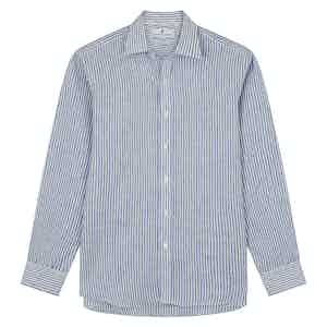 Sky Blue Linen Stripe Weekend Fit Shirt with Derby Collar
