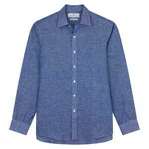 Indigo Linen Weekend Fit Shirt with Derby Collar