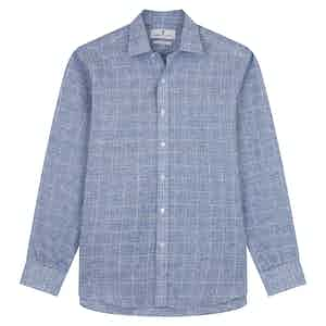 Indigo Linen Glen Check Weekend Fit Shirt with Derby Collar