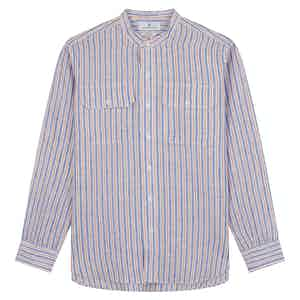 Blue & Red Linen Stripe Weekend Fit Shirt with Stand Collar