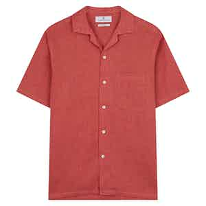 Crimson Delave Linen Holiday Fit Shirt with Revere Collar