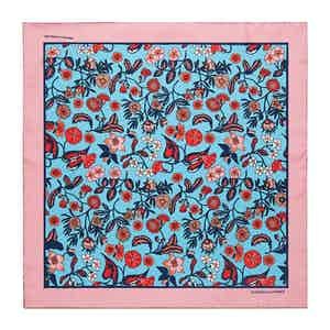 Sky Blue Wild Bloom Silk Print Pocket Square