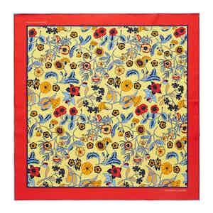 Cream Wild Bloom Silk Print Pocket Square