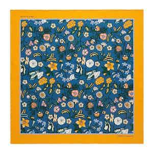 Teal Wild Bloom Silk Print Pocket Square