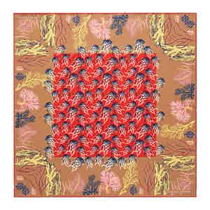 Copper Jellyfish Silk Print Pocket Square