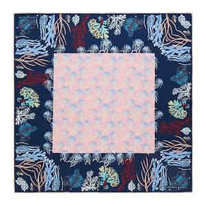 Navy Jellyfish Silk Print Pocket Square