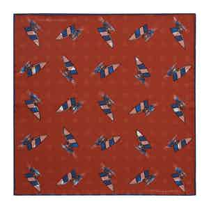 Red Windsurfer Double-Faced Silk Print Pocket Square