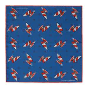 Blue Windsurfer Double-Faced Silk Print Pocket Square