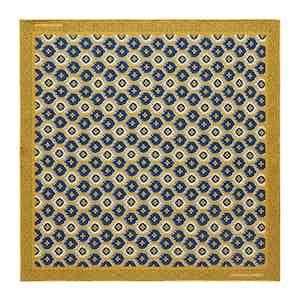 Tan Medallion Print Silk Pocket Square