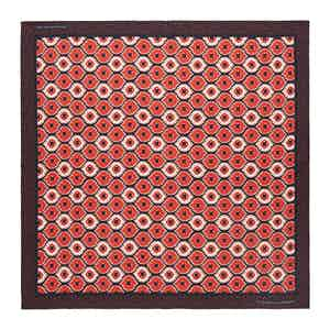 Red Medallion Print Silk Pocket Square