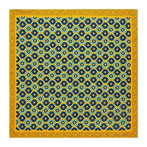 Yellow Medallion Print Silk Pocket Square