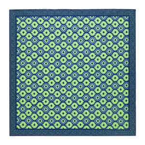 Navy & Green Medallion Print Silk Pocket Square