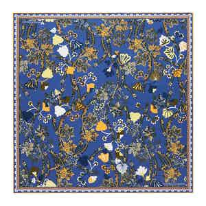 Night Blue Fine Floral Print Silk Pocket Square