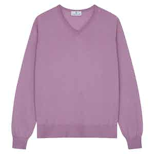 Pink Merino Kennedy V-Neck Jumper
