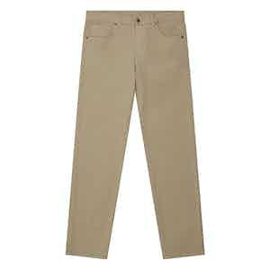 Khaki Stretch Cotton Five-Pocket Jeans