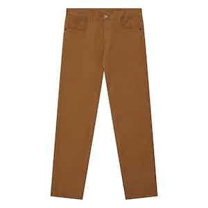 Tan Stretch Cotton Five-Pocket Jeans