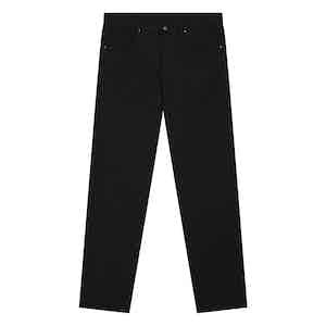 Navy Stretch Cotton Five-Pocket Jeans