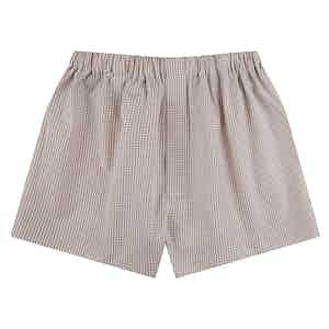 Peach Gingham Check Boxer Shorts