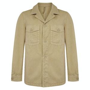 Beige Cotton Two-Pocket Field Jacket