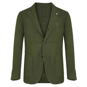 Green Linen Single-Breasted Patch Pocket Jacket