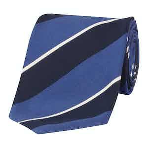 Navy & Light Blue Stripe Silk & Cotton Tie