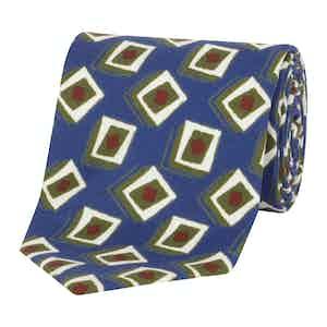 Olive & Blue Geometric Silk Tie