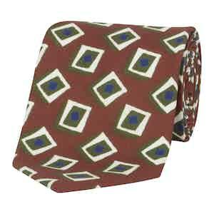 Olive & Red Geometric Silk Tie