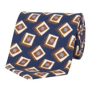 Orange & Navy Geometric Silk Tie