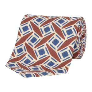 Blue & Orange Geometric Silk Tie