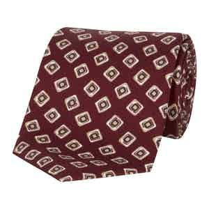 Red Square Pattern Silk TIe