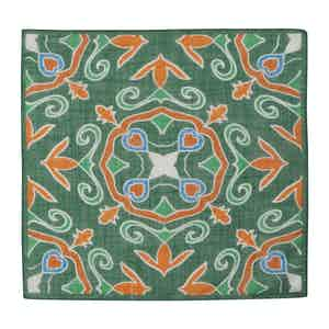 Green & Orange Cotton & Linen Handkerchief